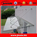 Modern stainless steel glass canopy design